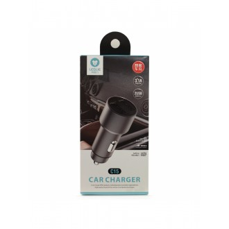 "Pilkas automobilinis įkroviklis ""Leslie"" C15 Metal su 2 USB 3.1A"