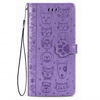 """Purpurinis atverčiamas dėklas """"Šunys/Katės"""" telefonui Xiaomi Redmi 9C"""