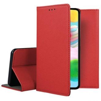 """Raudonas atverčiamas dėklas Samsung Galaxy A41 telefonui """"Smart Magnet"""""""