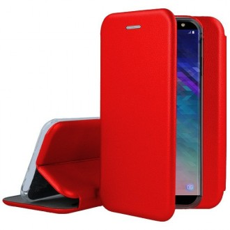 """Raudonas atverčiamas dėklas Samsung Galaxy A600 A6 2018 telefonui """"Book Elegance"""""""