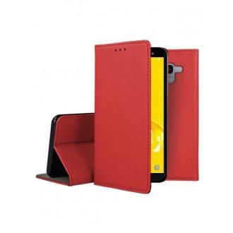 """Raudonas atverčiamas dėklas Samsung Galaxy J600 J6 2018 telefonui """"Smart Magnet"""""""
