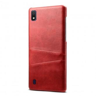 "Raudonas dėklas Samsung Galaxy A105 A10 telefonui ""Leather Card Case"""