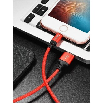 """Raudonas-Juodas USB kabelis HOCO X14 """"Lightning"""" 1.0m"""