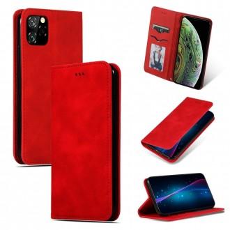 """Raudonas odinis atverčiamas dėklas Apple iPhone 11 Pro telefonui """"Business Style"""""""
