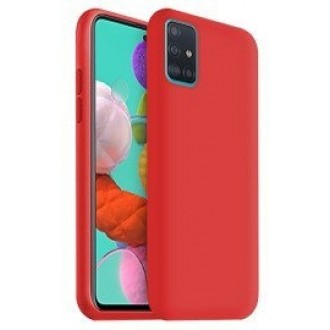 "Raudonas silikoninis dėklas Samsung Galaxy A715 A71 telefonui ""Liquid Silicone"" 1.5mm"