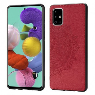Raudonas silikoninis dėklas su medžiaginiu atvaizdu Samsung Galaxy A515 A51 telefonui