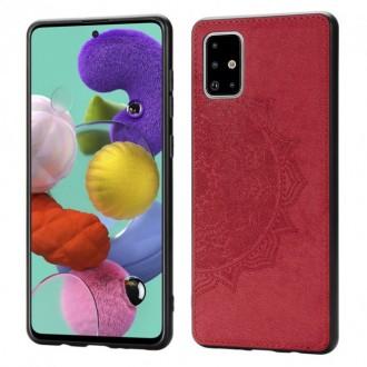 Raudonas silikoninis dėklas su medžiaginiu atvaizdu Samsung Galaxy A715 A71 telefonui