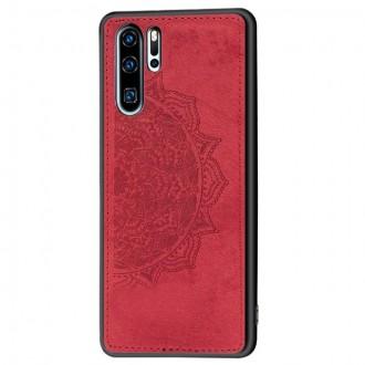 Raudonas silikoninis dėklas su medžiaginiu atvaizdu Xiaomi Redmi 9A telefonui