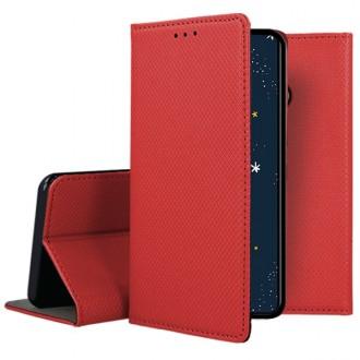"""Raudonos spalvos atverčiamas dėklas Huawei P30 Lite telefonui """"Smart Magnet"""""""