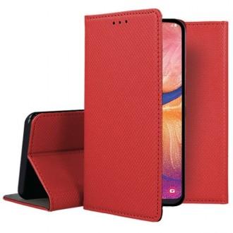 """Raudonos spalvos atverčiamas dėklas Samsung Galaxy A202 A20e telefonui """"Smart Magnet"""""""