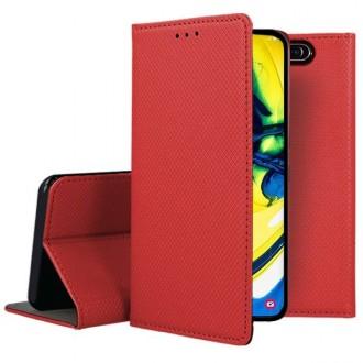 """Raudonos spalvos atverčiamas dėklas Samsung Galaxy A805 A80 telefonui """"Smart Magnet"""""""