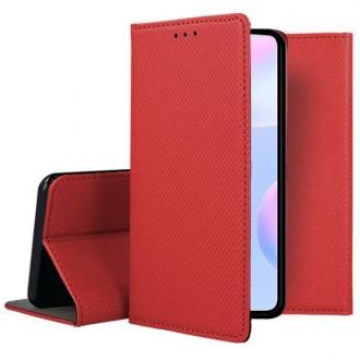 """Raudonos spalvos atverčiamas dėklas Xiaomi Redmi 9A telefonui """"Smart Magnet"""""""