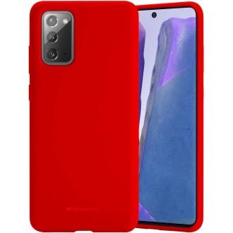 """Raudonos spalvos dėklas """"Mercury Silicone Case"""" Samsung Galaxy N980 Note 20 telefonui"""
