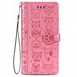 """Rožinis atverčiamas dėklas """"Šunys/Katės"""" telefonui Xiaomi Redmi 9C"""