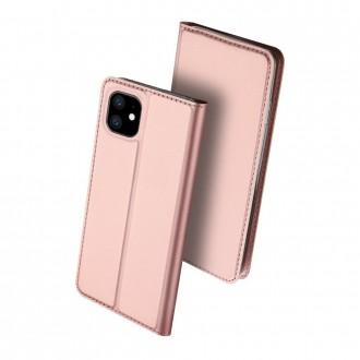 """Rožinis-Auksinis atverčiamas dėklas Apple iPhone 11 telefonui """"Dux Ducis Skin"""""""