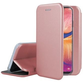 """Rožinis-Auksinis atverčiamas dėklas Samsung Galaxy A202 A20e telefonui """"Book Elegance"""""""