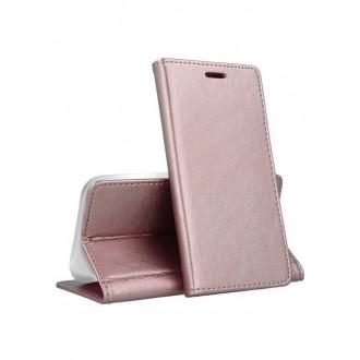 """Rožinis-Auksinis atverčiamas dėklas Samsung Galaxy A202F A20e telefonui """"Magnetic book"""""""