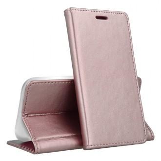 """Rožinis-auksinis atverčiamas dėklas Samsung Galaxy A715 A71 telefonui """"Magnetic book"""""""