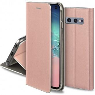 """Rožinis-auksinis atverčiamas dėklas Samsung Galaxy G970 S10e telefonui """"Smart Venus"""""""