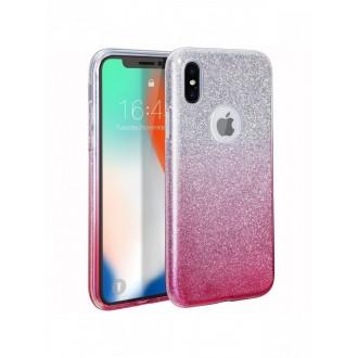 "Rožinis blizgantis silikoninis dėklas Apple Iphone XS MAX telefonui ""Bling"""