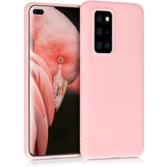 """Rožinis silikoninis dėklas Huawei P40 telefonui """"Liquid Silicone"""" 1.5mm"""