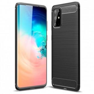 Juodas silikoninis dėklas ''Carbon Lux'' telefonui Samsung S21 Ultra
