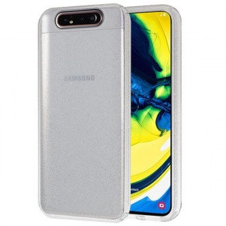 "Sidabrinis silikoninis dėklas su blizgučiais Samsung Galaxy A805 A80 telefonui ""Glitter Crystal case"""