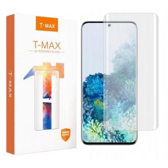 """Skaidrus apsauginis grūdintas stiklas """"T-Max UV Glass"""" Samsung Galaxy S20 telefonui (Su maža UV lempa)"""