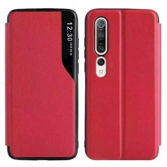Atverčiamas Dėklas Smart View Xiaomi Redmi Note 10 Pro / Note 10 Pro Max raudonas