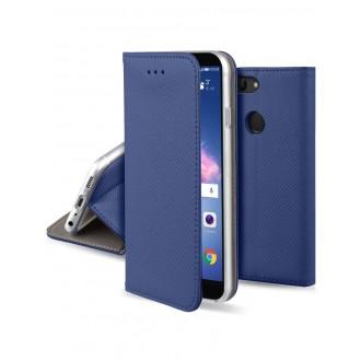 """Tamsiai mėlynas atverčiamas dėklas Huawei P Smart telefonui """"Smart Magnet"""""""