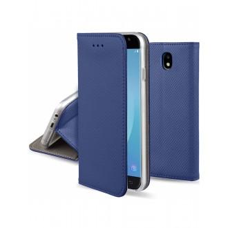 """Tamsiai mėlynas atverčiamas dėklas Samsung Galaxy J330 J3 2017 telefonui """"Smart Magnet"""" (EUROPOS RINKAI)"""