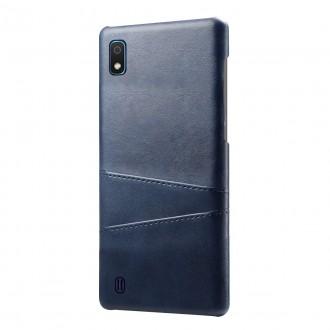 "Tamsiai mėlynas dėklas Samsung Galaxy A105 A10 telefonui ""Leather Card Case"""
