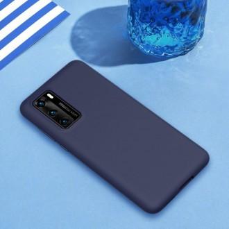 """Tamsiai mėlynas silikoninis dėklas Huawei P40 telefonui """"Liquid Silicone"""" 1.5mm"""