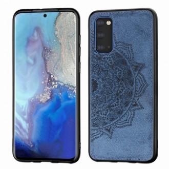 Tamsiai mėlynas silikoninis dėklas su medžiaginiu atvaizdu Samsung Galaxy G981 S20 telefonui
