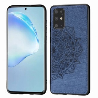 Tamsiai mėlynas silikoninis dėklas su medžiaginiu atvaizdu Samsung Galaxy G986 S20 plus telefonui