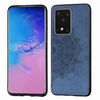 Tamsiai mėlynas silikoninis dėklas su medžiaginiu atvaizdu Samsung Galaxy G988 S20 Ultra telefonui