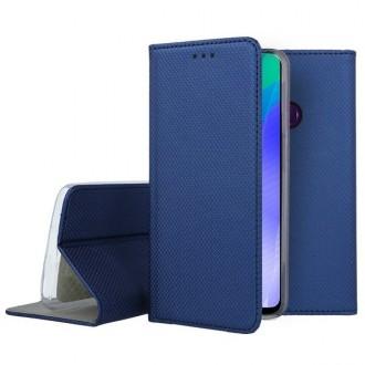 """Tamsiai mėlynos spalvos atverčiamas dėklas Huawei Y6P telefonui """"Smart Magnet"""""""