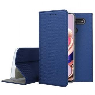 """Tamsiai mėlynos spalvos atverčiamas dėklas LG K41S / K51S telefonui """"Smart Magnet"""""""