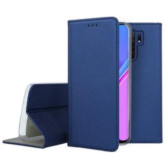 """Tamsiai mėlynos spalvos atverčiamas dėklas Xiaomi Redmi 9 telefonui """"Smart Magnet"""""""