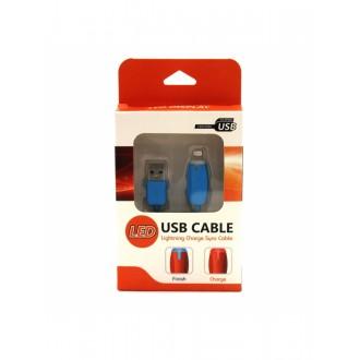 USB kabelis LED Apple 4G 30-Pin apvalus mėlynas
