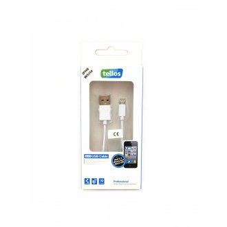 "USB kabelis ""Tellos"" Professional Apple ""Lightning"" baltas, 1.0m"