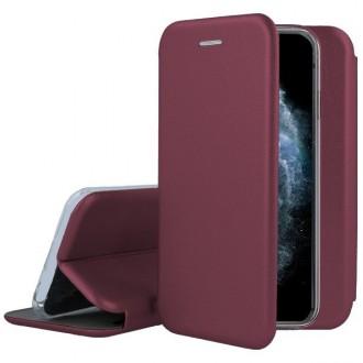 """Vyno raudonos spalvos atverčiamas dėklas Apple iPhone XS Max telefonui """"Book Elegance"""""""