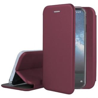 """Vyno raudonos spalvos atverčiamas dėklas Nokia 2.2 telefonui """"Book Elegance"""""""
