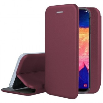 """Vyno raudonos spalvos atverčiamas dėklas Samsung Galaxy A105 A10 telefonui """"Book Elegance"""""""
