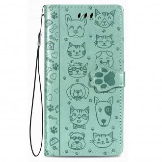 """Žalias atverčiamas dėklas """"Šunys/Katės"""" telefonui Xiaomi Redmi 9C"""