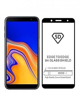 """5D Juodas apsauginis grūdintas stiklas Samsung J4  telefonui """"Full Glue"""""""