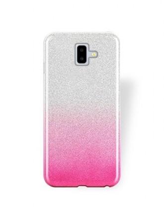 """Rožinis blizgantis silikoninis dėklas Samsung Galaxy J610 J6 Plus 2018 telefonui """"Bling"""""""