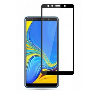 """5D Juodas apsauginis grūdintas stiklas Samsung Galaxy A750 A7 2018  telefonui """"Full Glue"""""""