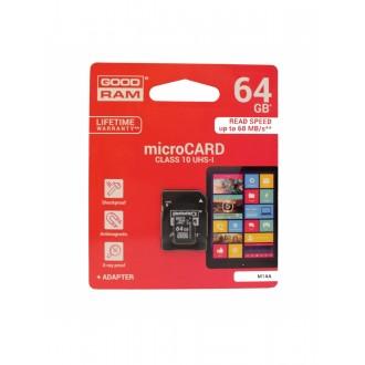 Atminties korta GOODRAM MicroSD 64Gb UHS I (class 10) + SD adapter