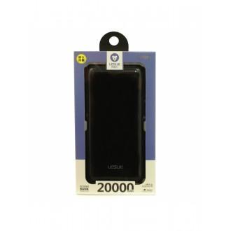 Juoda išorinė baterija POWER BANK Leslie LP015 20000mAh